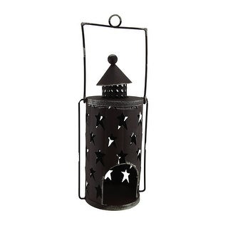 Star Dancer Rustic Brown Decorative Metal Candle Lantern w/Cut Out Stars - 12.5 X 6 X 4.5 inches