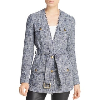 MICHAEL Michael Kors Womens Basic Coat Tweed Frayed Hem