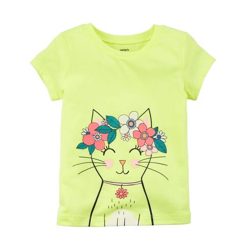 Carter's Baby Girls' Neon Kitty Jersey Tee