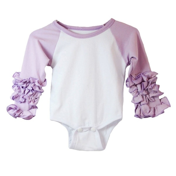 Baby Girls Lavender White Ruffle Cuff Crew Neck Long Sleeve Bodysuit 0-3M