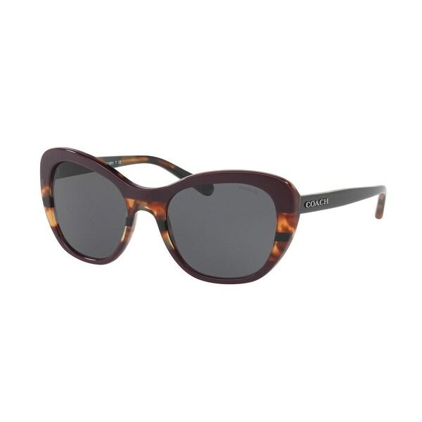 Coach Women's HC8204 547887 52 Dark Grey Solid Plastic Cat Eye Sunglasses. Opens flyout.