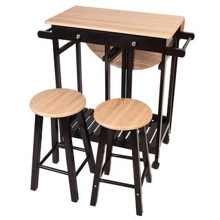 winsome space saver kitchen cart with 2 stools free shipping today 18896066. Black Bedroom Furniture Sets. Home Design Ideas