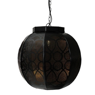 "14"" Black and Gold Moroccan Style Cut-Out Hanging Lantern Pendant Ceiling Light Fixture"