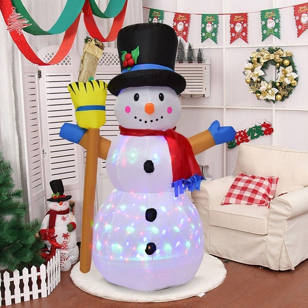 costway 4ft indooroutdoor led inflatable christmas snowman holiday decor lighted lawn