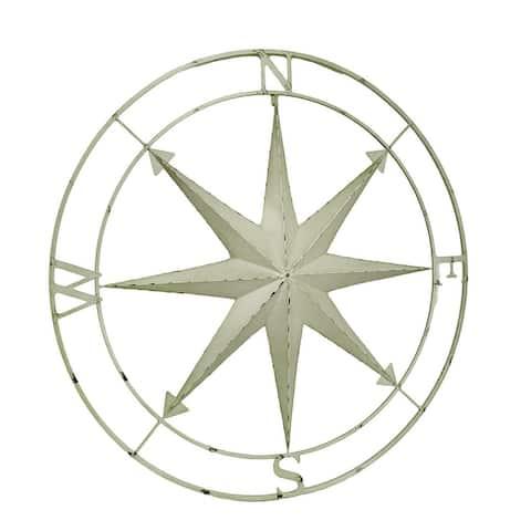 Indoor Outdoor Metal Compass Rose Wall Sculpture 39.5 Inch Diameter - 39.5 X 39.5 X 1 inches