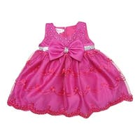 Baby Girls Fuchsia Glitter Sequin Bow Embroidered Flower Girl Dress