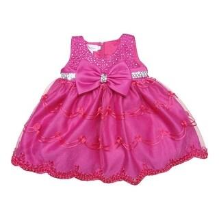 Baby Girls Fuchsia Glitter Sequin Bow Embroidered Flower Girl Dress