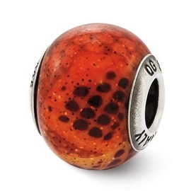 Italian Sterling Silver Reflections Pink & Orange Python Glass Bead (4mm Diameter Hole)