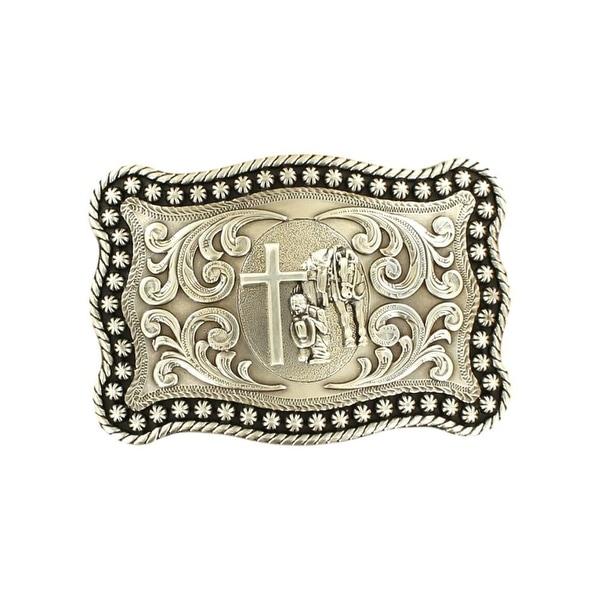 "Nocona Western Belt Buckle Praying Cowboy Horse Cross Silver - 3 7/8"" x 2 3/4"""