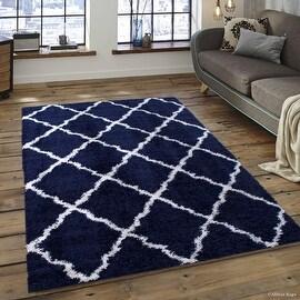 "Allstar Blue Dense High Pile Posh Shaggy Area Rugs, Textured Frieze, Soft, Comfortable, Modern & Contemporary (7' 9"" x 10' 0"")"