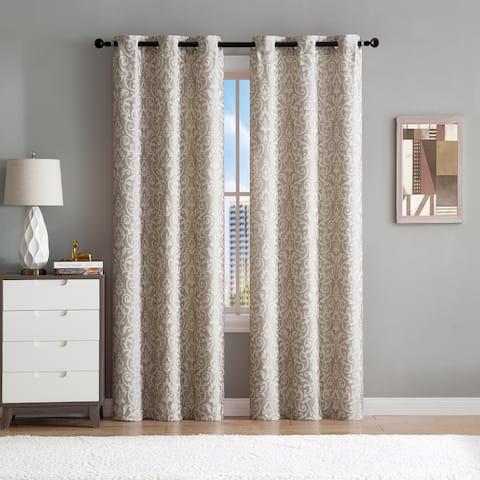 "Sophie Woven Damask Jacquard Window Curtain Panel Pair 96"" Long - 76"" x 96"""