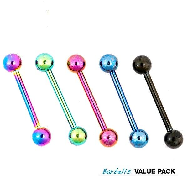 """5 Pcs Pack of Assorted Color Titanium Anodized Barbells - 14 GA 5/8"""" Long (5mm Balls)"""