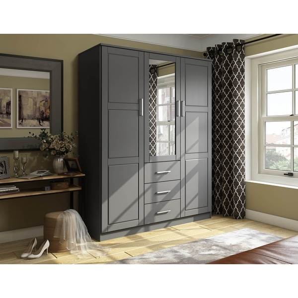 Cosmo Solid Wood 3-door Wardrobe with Mirror by Palace Imports. Opens flyout.