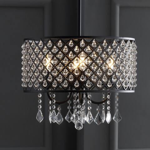 "Gigi 17"" Metal/Crystal Adjustable LED Drop Pendant, Black/Clear by JONATHAN Y"