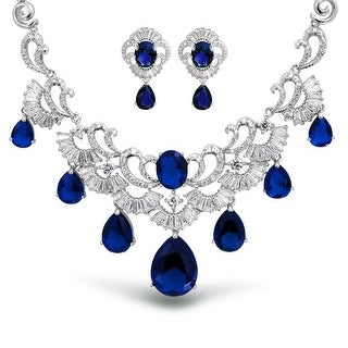 Bling Jewelry Blue CZ Glass Teardrop Bridal Set Rhodium Plated