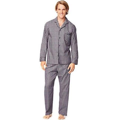 Hanes 400007477087 Mens Woven Pajamas - Burgundy Gingham, 4XL