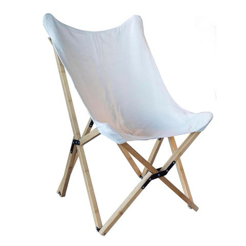 Offex Woven Canvas and Bamboo Butterfly Sling Chair - White