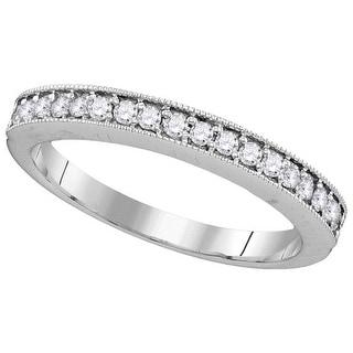 10kt White Gold Womens Round Natural Diamond Band Wedding Anniversary Ring 1/4 Cttw