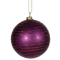 "Plum Purple Glitter Striped Shatterproof Christmas Ball Ornament 3"" (75mm)"