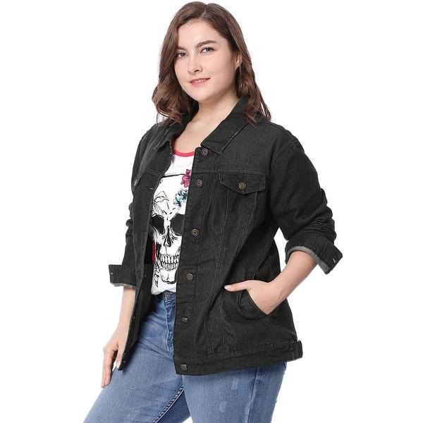 Women Plus Size Stitching Button Front Washed Denim Jacket - Black