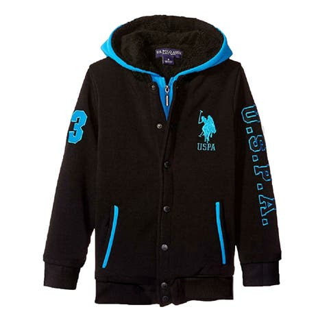 US Polo Assn Little Boys Turquoise Black Logo Sherpa Lined Hooded Jacket