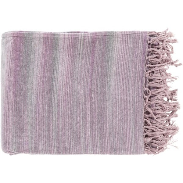 "Pewter Gray, Iris and Lilac Purple Stripped Cotton Fringed Throw Blanket 50"" x 60"""