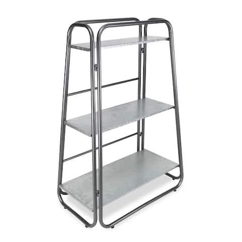 "39.75"" Gray 3-Tier Galvanized Shelf with Folding Frame"