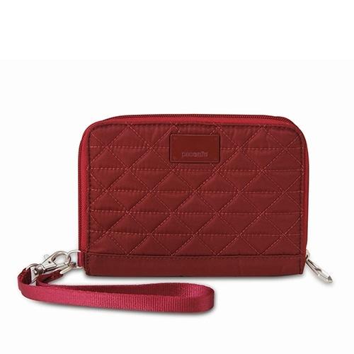 Pacsafe RFIDsafe W150 - Cranberry RFID Blocking Organiser w/ Detachable Strap