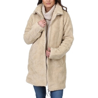Steve Madden Womens Midi Coat Winter Sherpa