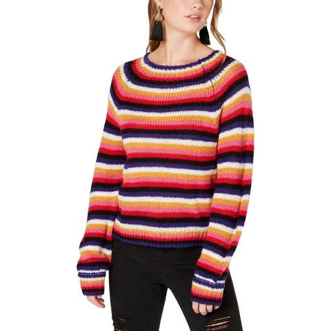 Crave Frame Womens Juniors Pullover Sweater Stried Fluffy