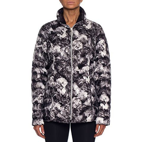 Laundry by Shelli Segal Flower Patterned Down Jacket with Hood