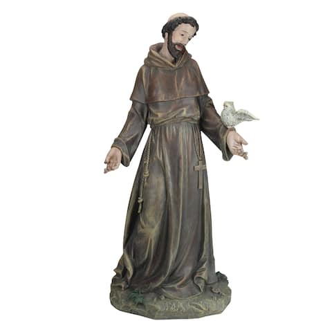 "25"" Outdoor Weathered Saint Francis Statue Holding Dove"