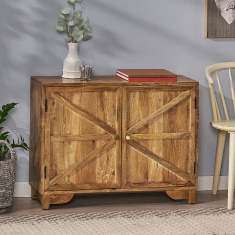 """Sula Farmhouse Handcrafted Mango Wood 2 Door Cabinet by Christopher Knight Home - 35.50"""" L x 12.00"""" W x 26.75"""" H"""