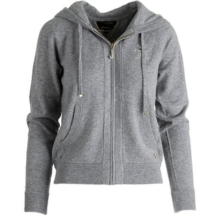Juicy Couture Black Label Womens Cashmere Embellished Zip-Front Hoodie