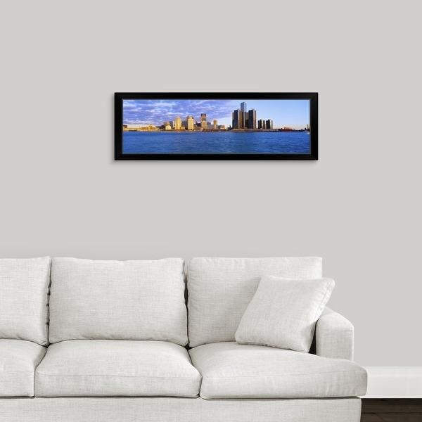 """Renaissance Center, Detroit, Sunrise, Michigan"" Black Framed Print"