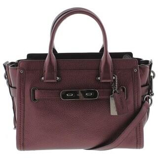 Coach Womens Swagger 27 Satchel Handbag Leather Metallic Purple Medium - metallic cherry