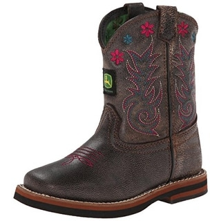 John Deere Girls Johnny Poppers Cowboy, Western Boots Leather