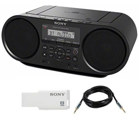 Sony ZSRS60BT CD Boombox (Black) w/ 8GB Micro Vault & Accessory Bundle