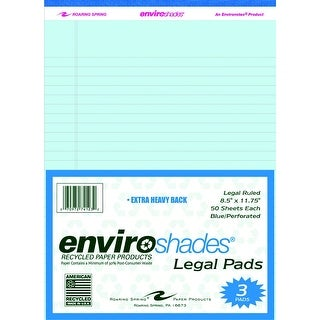 Roaring Spring Enviroshades Legal Pad, 8-1/2 X 11-3/4 in, 50 Sheets, Paper, Blue, Pack of 3