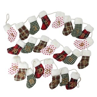 8' Holiday Moments Red, Green and White Christmas Stocking Garland - Unlit