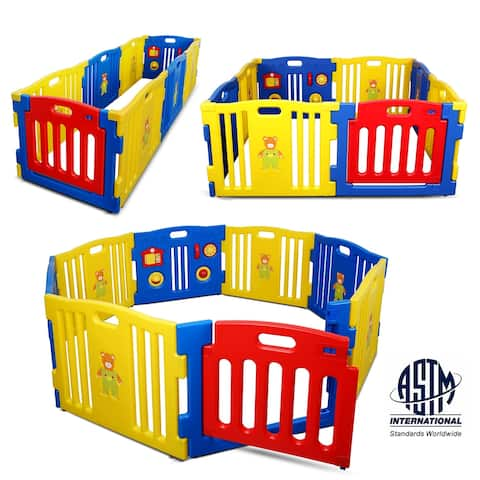 Kidzone Kids Playpen 8 Panel Safety Gate Activity Pen ASTM Certified - standard
