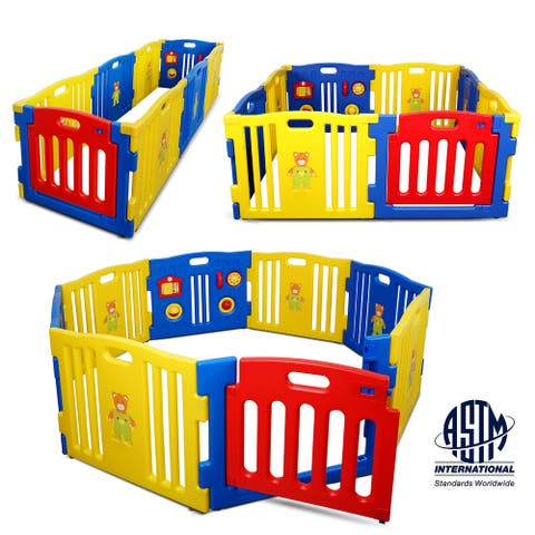 Kidzone Kids Playpen 8pcs Safety Gate Play Center ASTM Certified Blue - standard
