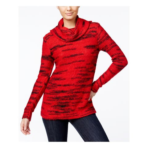 KENSIE Womens Red Striped Long Sleeve Cowl Neck Sweater Size M