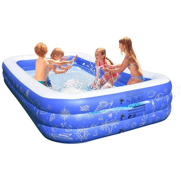 Q-Max Large Outdoor Inflatable Family Swimming Pool with Electric Pump. Opens flyout.