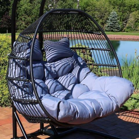 Sunnydaze Liza Loveseat Egg Chair with Cushions - Gray