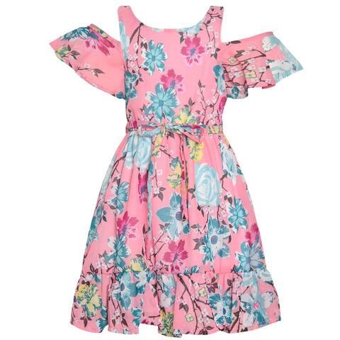 Little Girls Pink Blue Flower Print Cold-Shoulder Short Sleeve Dress