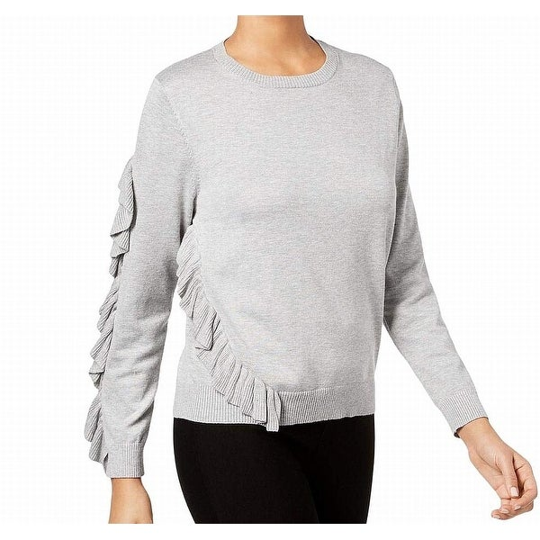 NY Collection Gray Womens Size XL Ruffled Asymmetrical Sweater