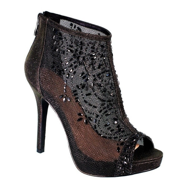 De Blossom Collection Adult Black Mesh Floral Rhinestone Pumps