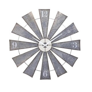 48 Steel and Pewter Gray Weathered Windmill Wall Clock