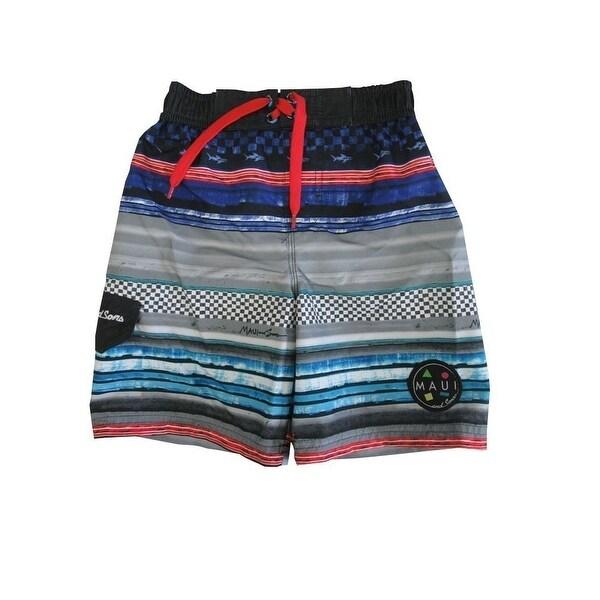 f0c0bf8f8f1aa Shop Maui Little Boys Blue Black Adjustable Waist Swimwear Shorts - Free  Shipping On Orders Over $45 - Overstock - 18168940